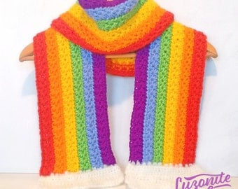Scarf Rainbow with clouds made by hand in crochet