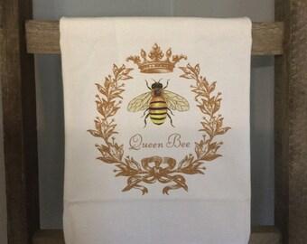 Queen Bee Flour Sack Kitchen  Towel  # Honey Bee # Bee Hive # Decoration  # Decorative # Farm # Gift # Farmer  #