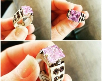 Deer antler Ring with 10mm Lavender CZ set in Sterling silver. Purple Swarovski Crystal accents with pyrography detail