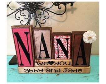 personalized made to match customizable grandparent wood block set / nana grandma nanny mimi gigi