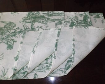 Cloth Placemats Green Toile Design - Set of 4