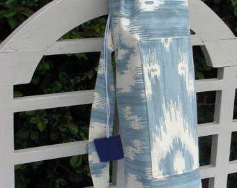 Blue and White Cotton Canvas Yoga Mat Bag/Meditation/Yoga/Savasana/Pilates Mat Bag