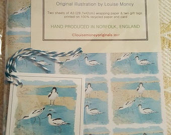 Avocet wrapping paper and gift tags. wrapping paper with avocets. avocet gift. seaside wrapping paper. bird gift wrap. british bird gift.