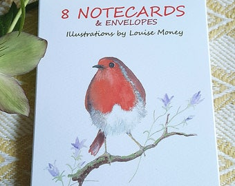 Robin notecards. Two Robin designs featured in a notecard pack of eight cards and envelopes. Robin cards. British bird card. Robin gift pack