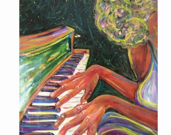 Original Painting | Acrylic Painting | Mixed Media Art | Jazz | Jazz Art | Piano | Piano Teacher Gift | Piano Gift | Black | Black Girl Magi