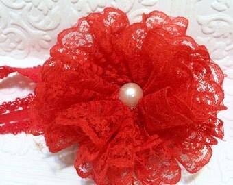 Red baby headband, Mother's Day baby headband, red headband, Canada day baby headband, red lace headband, lace headband,Valentine's baby