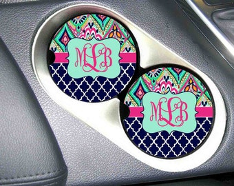 Monogrammed Car Coaster , Personalized Car Coaster , Monogram Car Coaster , Lilly Pulitzer Inspired , Matches License Plates and Frames