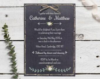 SAMPLE Rustic Chalkboard Wedding Invitation