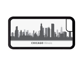 Chicago Illinois Skyline Personalized Phone Case - iPhone 7, 6, 6s Plus, 5c, 5 5s SE, Galaxy S8 S8 Plus S7 S6 Edge S5, rubber cover, IL