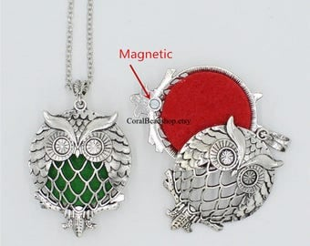 x0422 New Arrival -2pcs Hollow Owl Magnetic Locket For Aromatherapy Essential Oil Diffuser Locket Pendant Charms Necklace Making