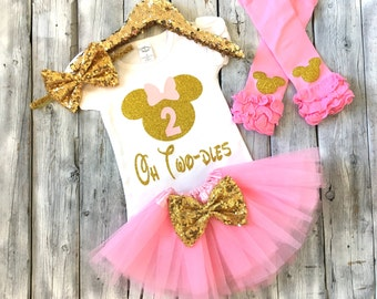 Pink and gold Minnie Mouse second birthday outfit, oh twodles 2nd birthday outfit Minnie Mouse, pink gold Minnie 2nd birthday, oh two dles