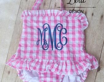 Toddler Girls Swimsuit - Baby Girls Swimsuit - Toddler Swim - Monogrammed Swimsuit - Girls Swimwear - Girls Ruffle Swimsuit