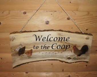 Rooster Decor, Chicken Sign, Welcome Sign, Welcome To The Coop, Chicken Decor, Rustic Sign, Wall Decor, Kitchen Decor, Rustic Decor, Rooster