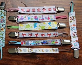 Pacifier Clips - Assorted Collection - Print Ribbon with Elastic Fits Most Pacifier's (including Soothie and MAM) - Ready to Ship