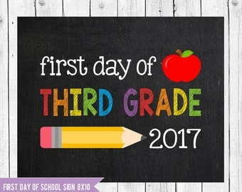 Third Grade Sign, First day of school sign printable, School Printable Sign, First day of Third Grade, First day of 3rd Grade chalkboard