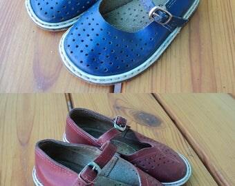 Vintage girl, boy, red, blue sandals, leather children's sandals, children's shoes, for dolls. Made in USSR