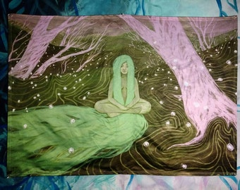 Art Tapestry - 3x6 ft - Satin Finish - Lady of the Forest - Meditation - Wall Art