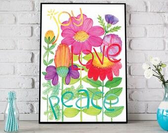Joy Love Peace Flower Poster, Floral Watercolor Print, Watercolour Flower Poster