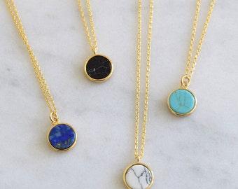 Gemstone Marble Dot Necklace