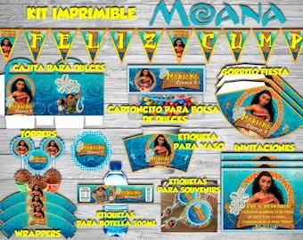 Mini #Imprimible Editable Kit #Moana/#Vaiana, invitation, pennants, labels and more... #DIY