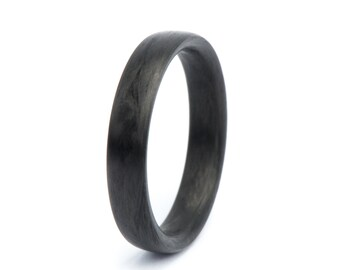 Carbon Fiber Ring: The Black Pearl. Wedding And Engagement Ring. For Men And Women. Custom Made.