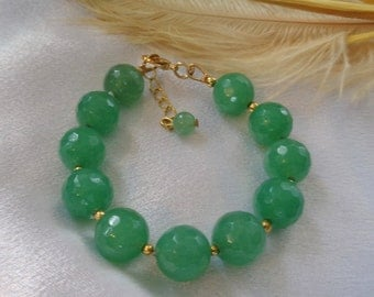 Dreamy Faceted Green Aventurine Bracelet with Extender- Green Aventurine Bracelet- Faceted Aventurine Bracelet- Holiday Bracelet- Spring