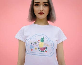 FromNicLove Cute Kawaii Friends with Faces T-shirt