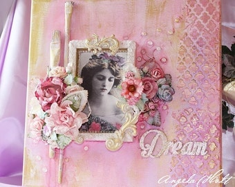 Shabby and guilded altered canvas