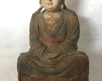 Vintage Carved Wood Sitting Quan Yin Statue,
