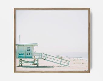 lifeguard print, printable beach art, beach print, surf art, California print, turquoise coastal print, beach art, surf print, lifeguard art