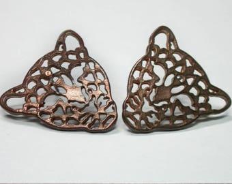 Stencil Earrings, Stud Earrings, Stencil Pair of Earrings, Leopard Earrings, Tiger Earrings, Copper Earrings, Vintage Earrings 1980s Retro.