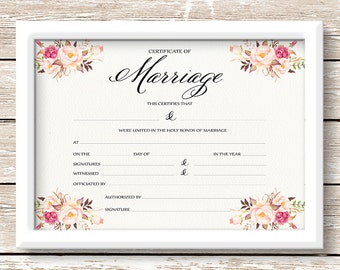 Printable wedding Marriage Certificate, 14x11 blank certificate, floral certificate wedding gift, anniversary gift wedding decor - PF-18