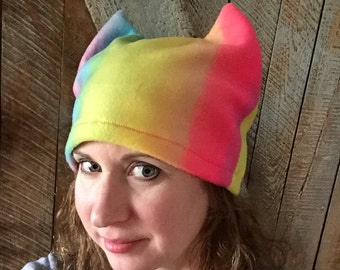 Pussyhat Pussy Hat Fleece Rainbow LGBTQ Solidarity Resist Human Rights Rainbow Cat Hat Love Is Love