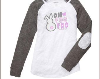Girl's Easter Shirt ~ Easter Raglan ~ Bunny shirt ~ Youth Easter Bunny Shirt