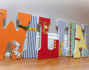 Jungle nursery letters, wooden letters, hanging letters, boy nursery letters, jungle animal decor