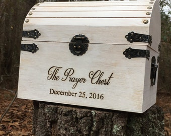 Prayer chest, custom chest, wedding chest, box, wood-burned, engraved, white distressed, rustic