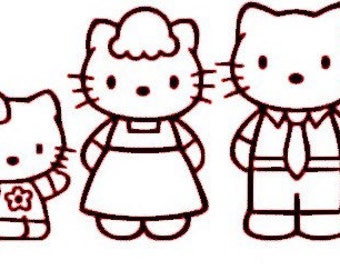 Hello Kitty family decal sticker set standard 4 members in all colors