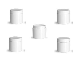 2 oz Empty White Double Wall Jar with White Cap Single item