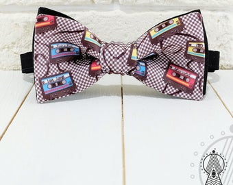 Audiocassettes Bow Tie, Plaid bowtie, Checkered bow tie, Musical pattern, For musician, Сassette tapes, Audiotapes pattern