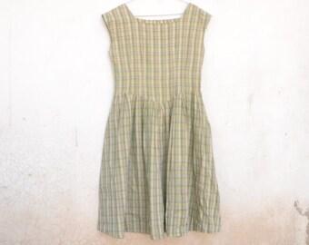 Vintage 80s dress, cotton dress, tartan, modern, gray, green, shirt, summer, retro,