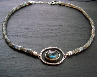 Labradorite Disk Choker /  Flash Labradorite / Choker Necklace / Sterling Silver