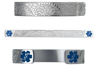 "Fancy Paisley 316L Stainless Medical Alert Bracelet -6"" Cuff (fits 6.5-8.0"" wrists)-D.Blue- Free Custom Engraving, Wallet Card, Apps-5329DBU"