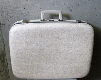 Vintage McBrine Hard Shell Suitcase White Weave Texture Silver Hardware 1960s