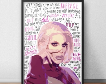 Katya Zamolodchikova print / poster hand drawn typography quotes drag queen print / poster