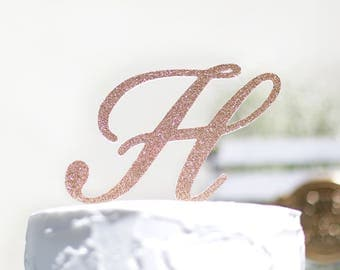 Monogram glitter cake topper, initial cake toppers, Personalized toppers, single letters,Wedding Cake Topper in your Choice of Glitter