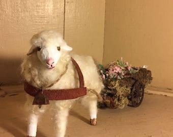 wool sheep and cart