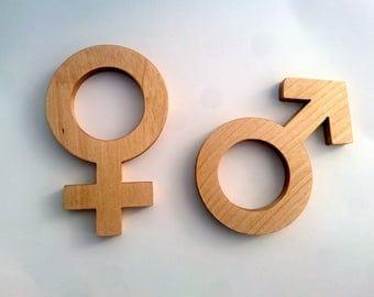 dark/light walnut wc sign for men and woman restroom 10cm