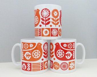 Scandinavian Bird Flowers Mug Finnish Mid Century Retro Orange Red Scandi Swedish Cup Homeware Vintage Kitchen