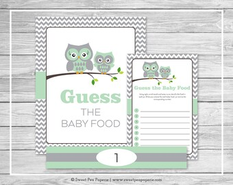 Owl Baby Shower Guess The Baby Food Game - Printable Baby Shower Guess Baby Food Game - Green Owl Baby Shower - Baby Food Game - SP137