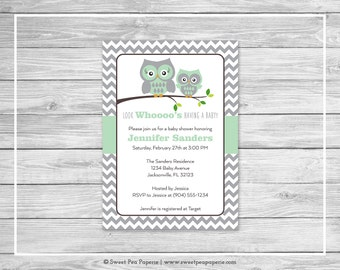 Owl Baby Shower Invitation - Printable Baby Shower Invitation - Green Owl Baby Shower - Baby Shower Invitations - Owl Baby Shower - SP137